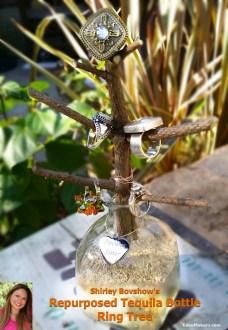 repurposed liquor bottle patron jewelry ring tree shirley bovshow garden craft edenmakers blog