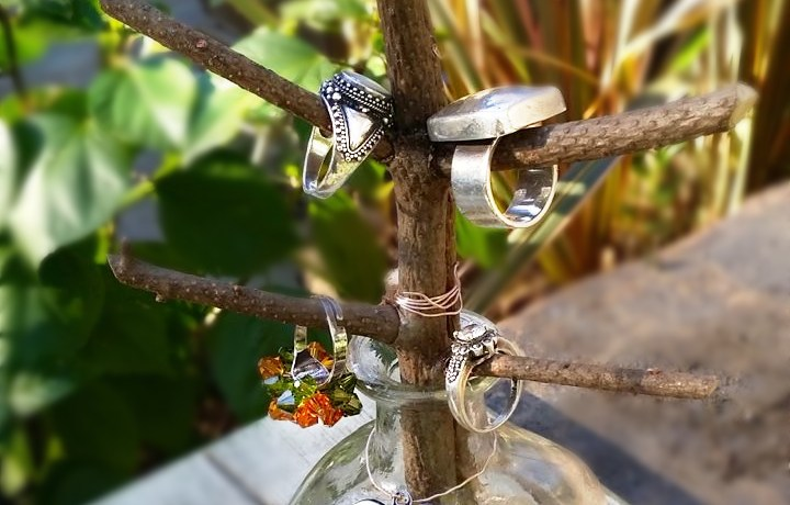repurposed liquor bottle patron jewelry ring tree shirley bovshow garden craft edenmakers blog