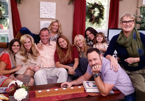 Shirley Bovshow with cast of Home & Family show on Hallmark channel