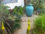 blue-fountain in low water garden