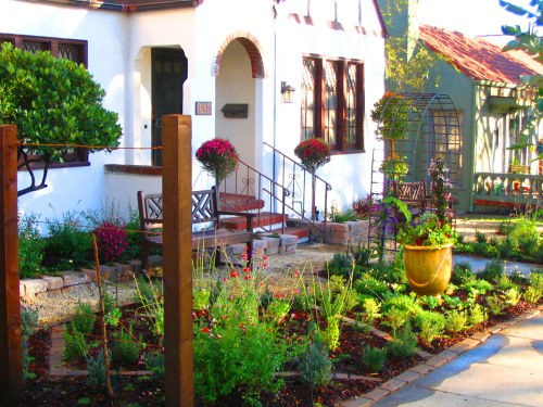 edible front yard in knot garden style