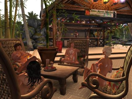 Soloes, Cicely, Brenda and Don at the Eden Haven Marina Bar