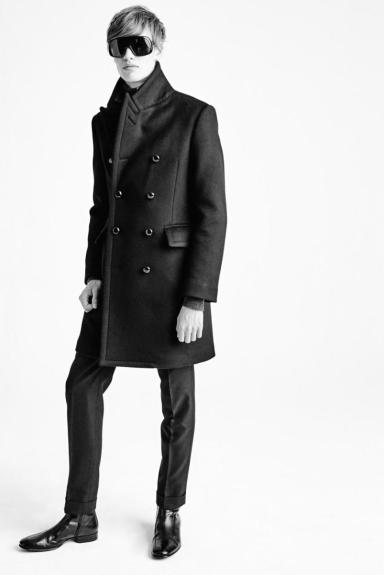 Tom Ford A/W 2015 BLACK DOUBLE FACED LONG MILITARY COAT FULLY LINED WITH LEATHER BUTTONS