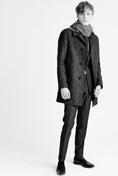 Tom Ford A/W 2015 CHARCOAL MELANGE TWEED SEAM SEALED MID LENGTH COAT