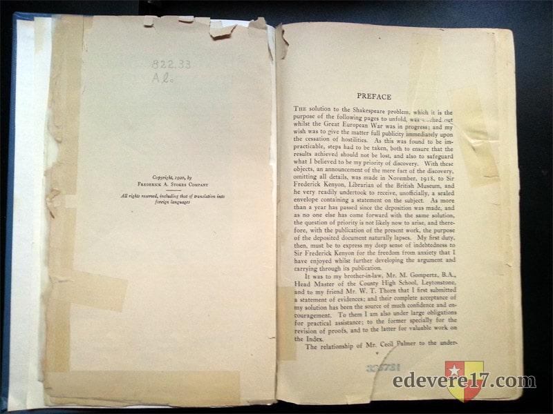Shakespeare Identified preface - books Oxfordian Looney Ward