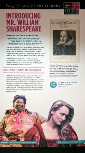 exhibit sign 1 Introducing Mr WS - Folger Shakespeare Folio tour