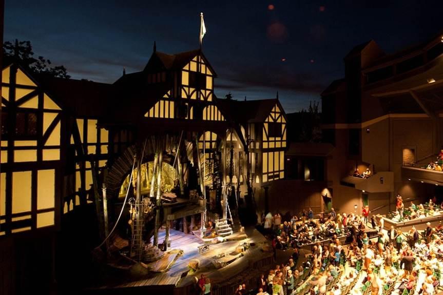 OSF Elizabethan stage at dusk - limerick story Jeff Shakespeare
