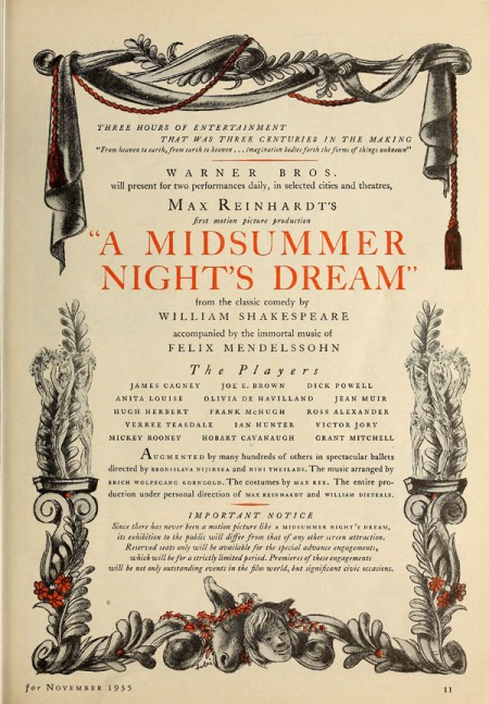 Silver Screen Nov 1935 MND display image - Midsummer Night's Dream 1935