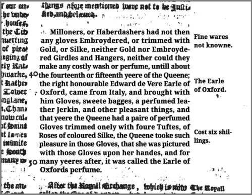 Annales 1631 p868 transcribed - scented Oxford gloves history