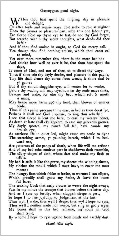 Gascoigne's good night poem - Fourteener heptameter poems anthology