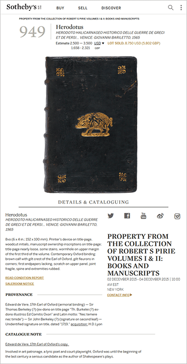 Previous sale display image - limerick Herodotus book auction