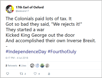 Fourth of July tweet - inverse Brexit