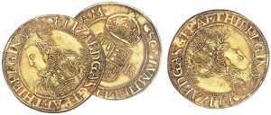 Three Elizabethan half-pound gold coins - StAlbans portrait subject error