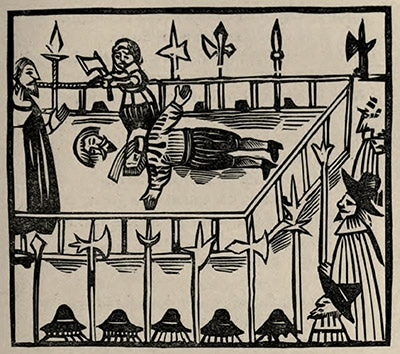17th-cent woodcut of 1601 Essex execution, from 1868 ballad book