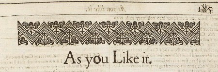 FF top of page with As You Like It title - 1623 Shakespeare First Folio auctioned