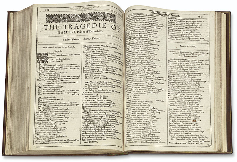 Mills College FF open to Hamlet lg - 1623 Shakespeare First Folio auctioned