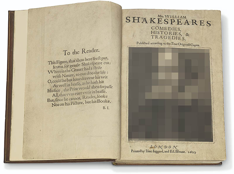 FF TTR Droeshout pxlltd lg - 1623 Shakespeare First Folio auctioned