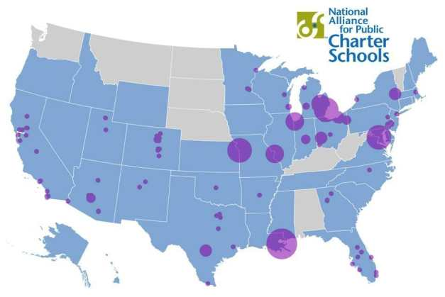 Image result for map of cities with charters