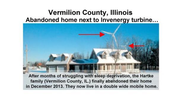 Home abandoned due to turbine noise.