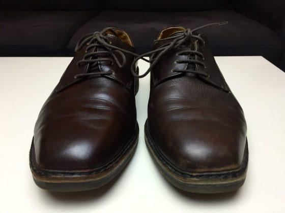 Comparaison cirage chaussure avant et après