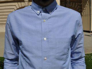 chemise pour homme drapeau noir couleur bleu tissu oxford