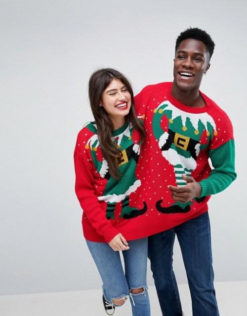 Pull de Noël rouge pour deux