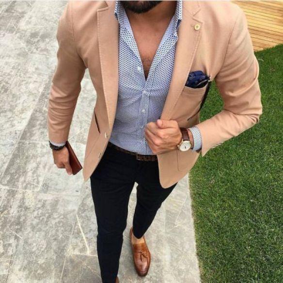 blazer beige pour homme