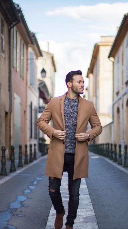 idée de look pour homme Thibaut Modelia manteau camel