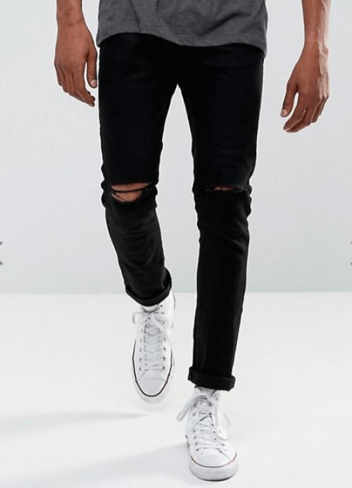 look pour homme jean déchiré noir