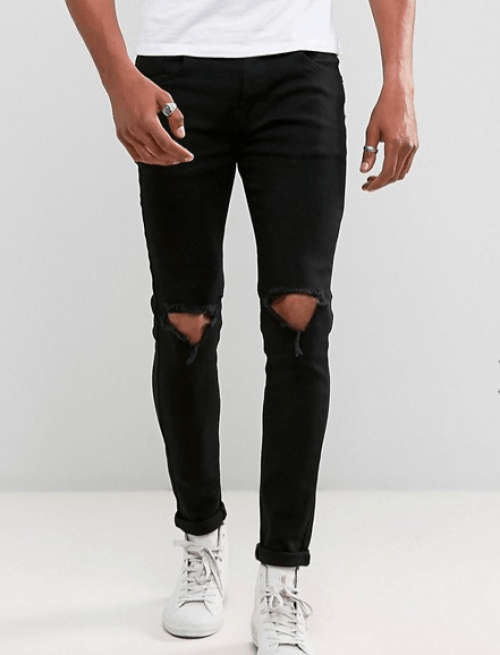 look pour homme jean noir déchiré