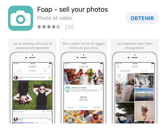 application pour vendre ses photos