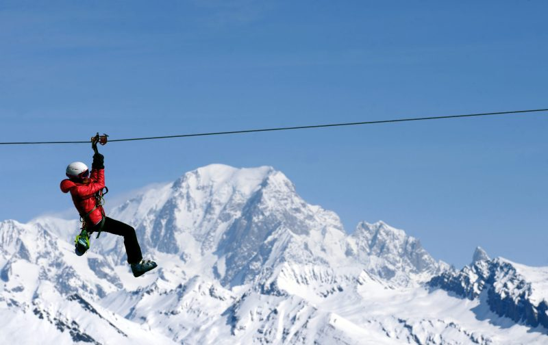 Tyrolienne ski hiver sport