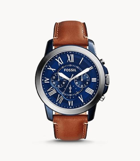 Montre bracelet cuir accessoire couleurs bleu marron homme
