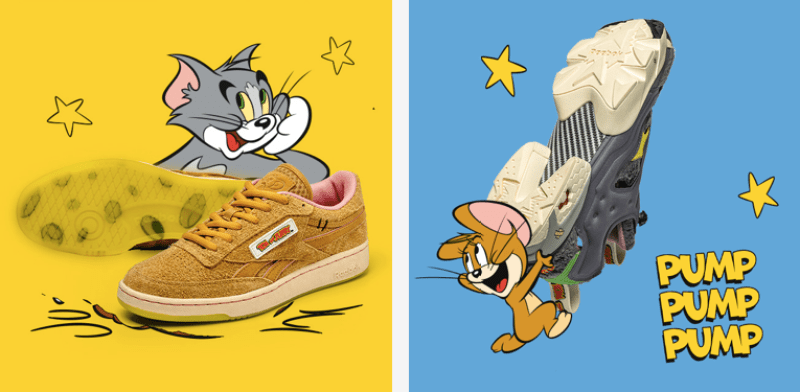 Reebok collection tom et jerry cartoon adulte enfants sneakers