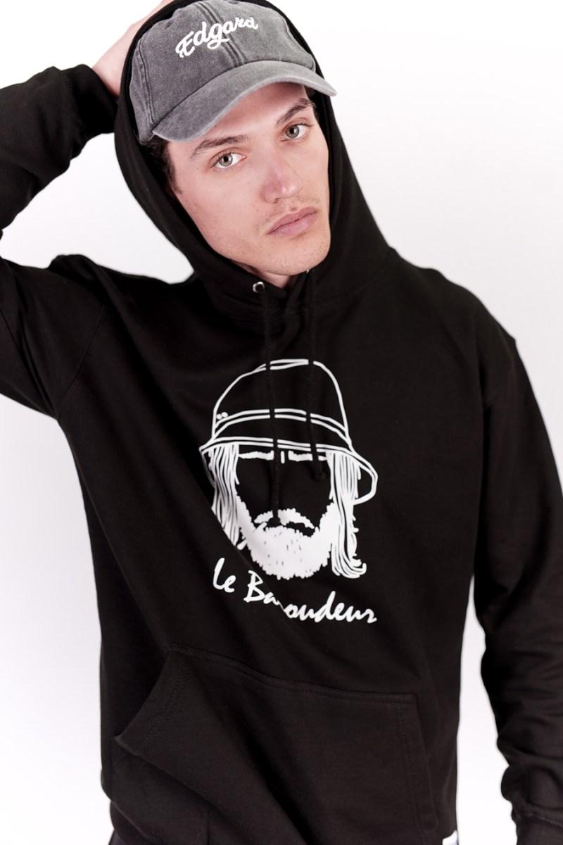Hoodie à capuche noir réfléctif made in France edgard paris