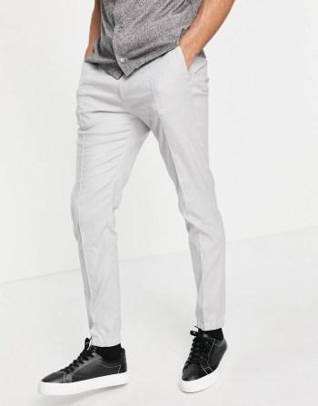 Jogger habillé en lin gris ASOS DESIGN