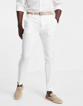 Pantalon de costume blanc ASOS DESIGN