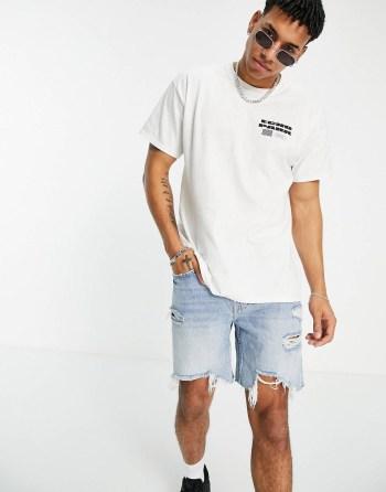 T-shirt oversize à imprimé blanc New Look