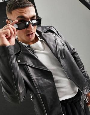 Blouson en cuir style motard gris ASOS DESIGN