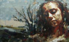 Toni Cogdell, The Open Field, oil on linen, 41 x 65 cm