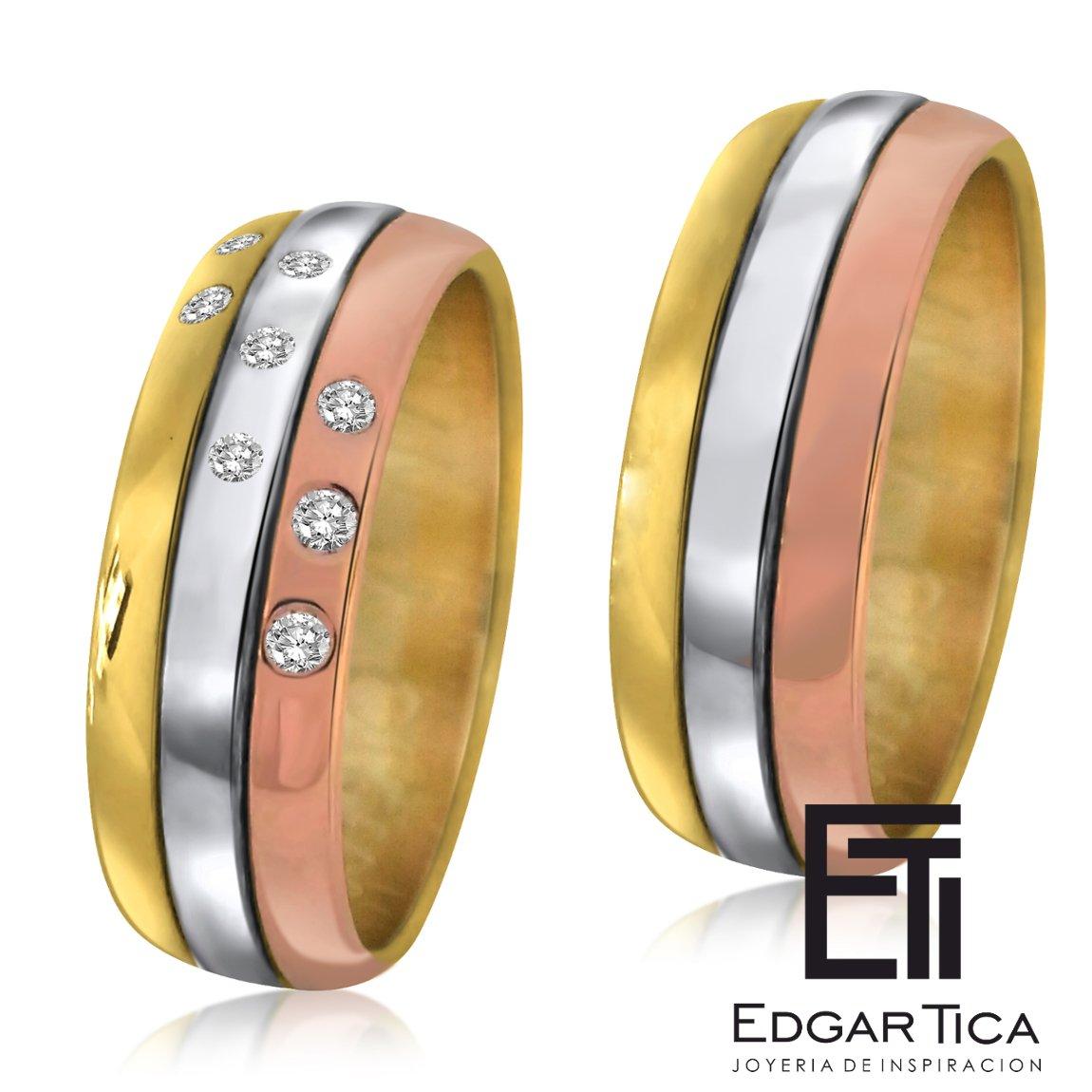 47eb4bedcf19 K Ukuyay Anillos De Matrimonio De Oro Tres Colores 18k Edgar Tica