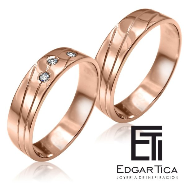 Anillo de matrimonio de oro rosado 18k