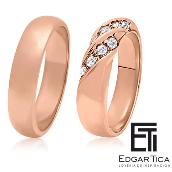 Aros de matrimonio de oro rosado 18k