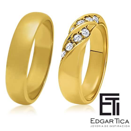 Aros de matrimonio de oro amarillo 18k