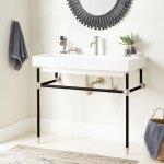 39 Stoddert Porcelain Console Sink With Brass Stand Black Brushed Nickel Bathroom
