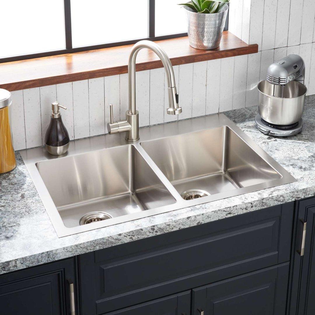 33 ortega double bowl stainless steel drop in sink single hole