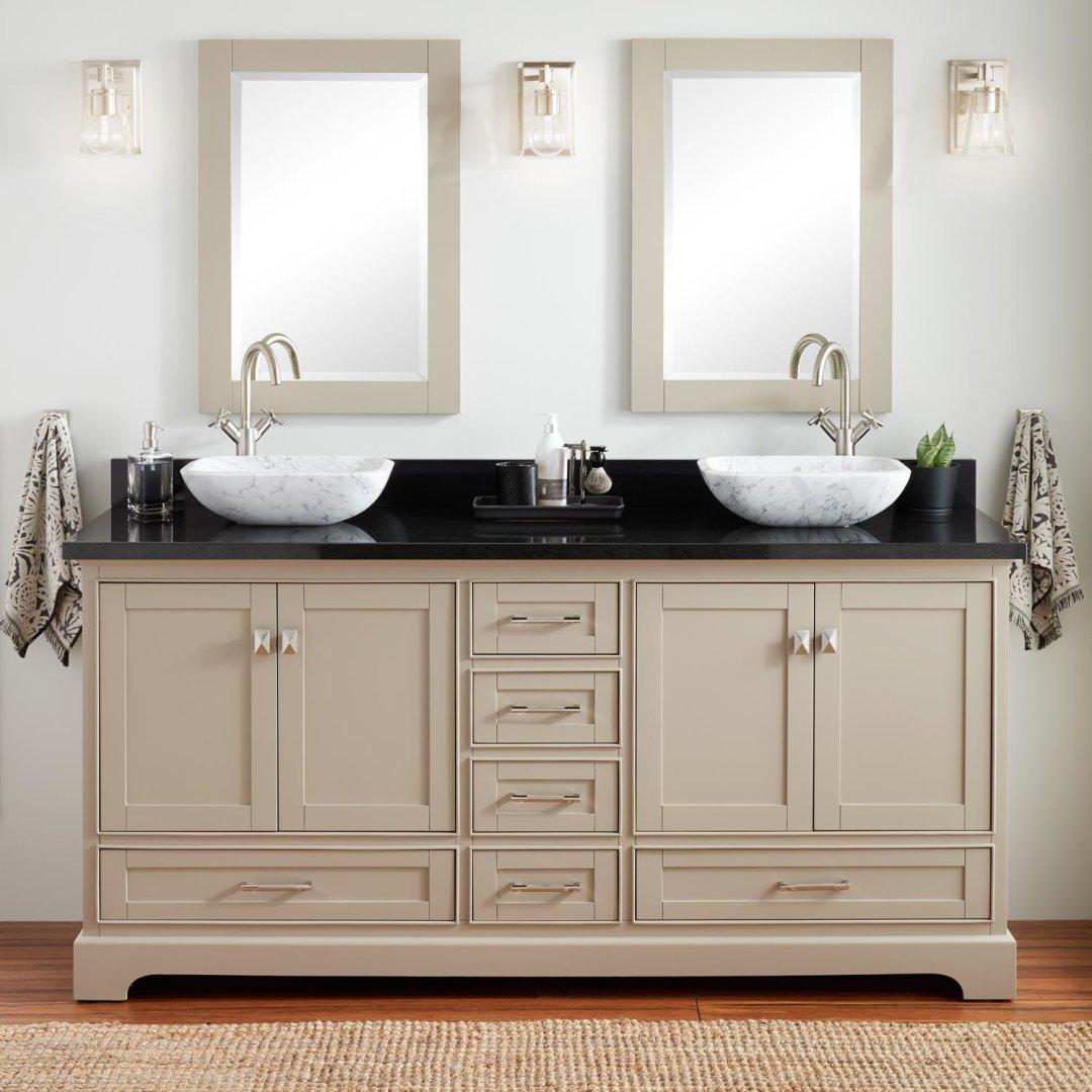 72 quen double vessel sink vanity taupe