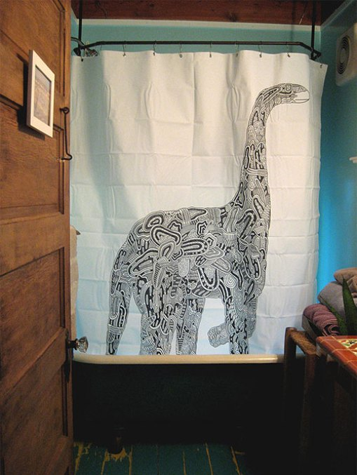 Brontosaurus shower curtain by Luke Ramsey