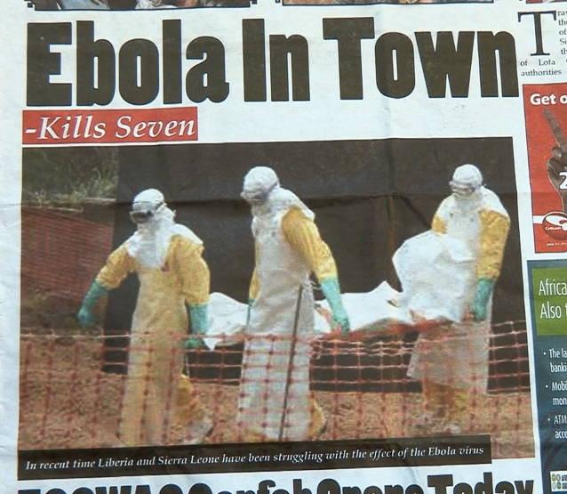 Headline from a Liberian newspaper. Photo by Alexander Ush Wiaplah.