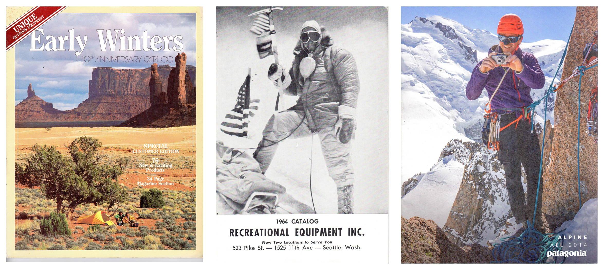 Early Winters Catalog 1982; REI Catalog 1964; Patagonia Catalog Fall 2014